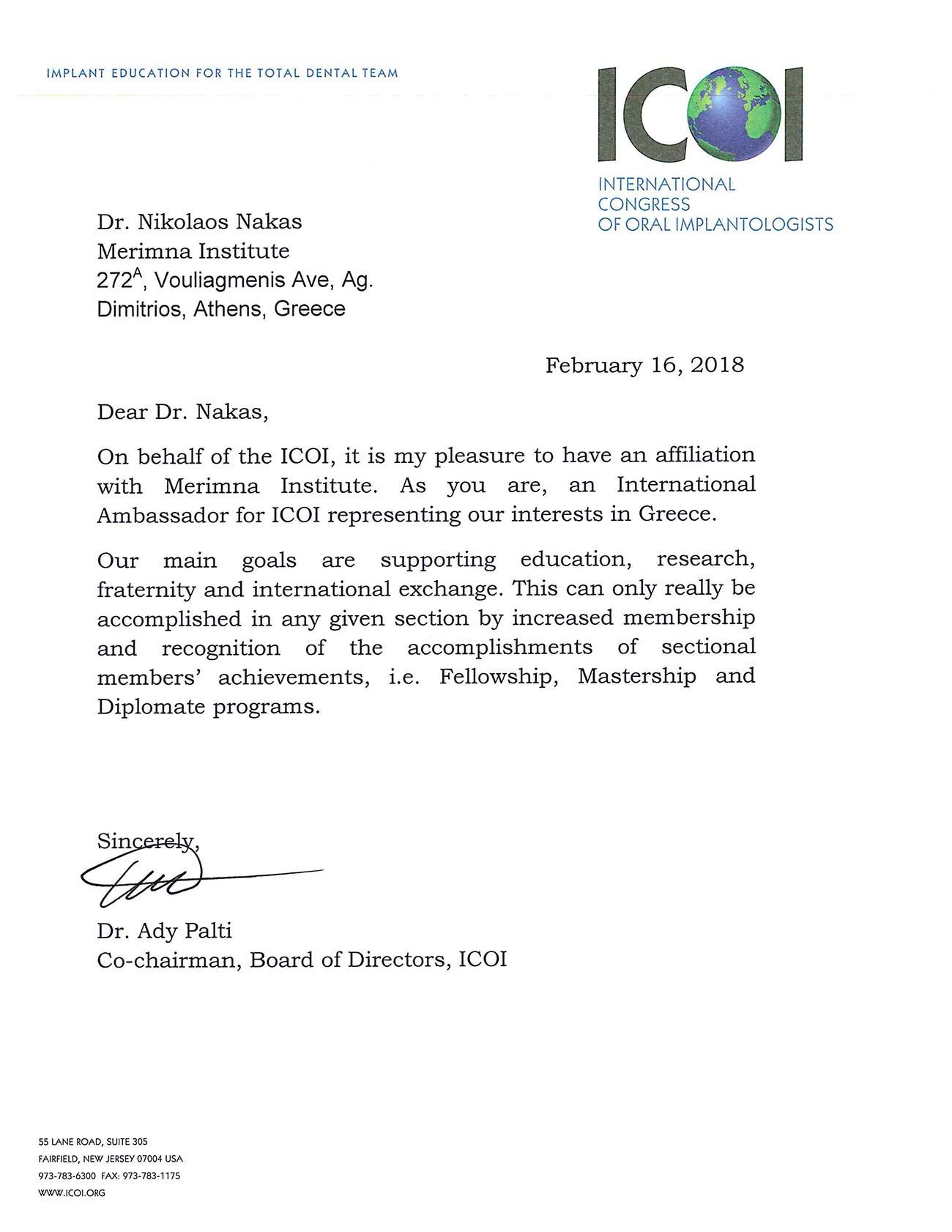 Merimna Institute ICOI affiliation